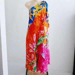 Ralph Lauren Silk Floral One Shoulder Bright Dress